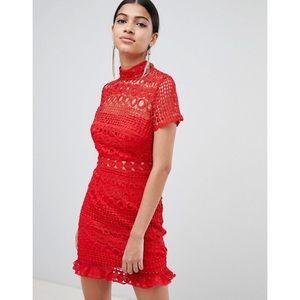 ASOS Love Triangle Red Crochet Mini Dress